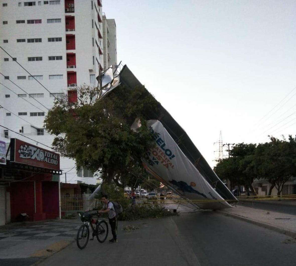 Vallas y árboles caídos en S. Marta.