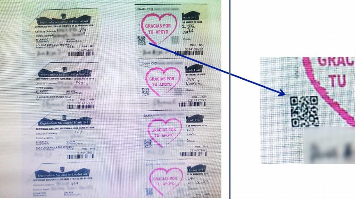 Según la Fiscalía, utilizaban calcomanías con código de barras bidimensional (código QR) para identificar y hacer seguimiento a los líderes encargados de la compra de votos.