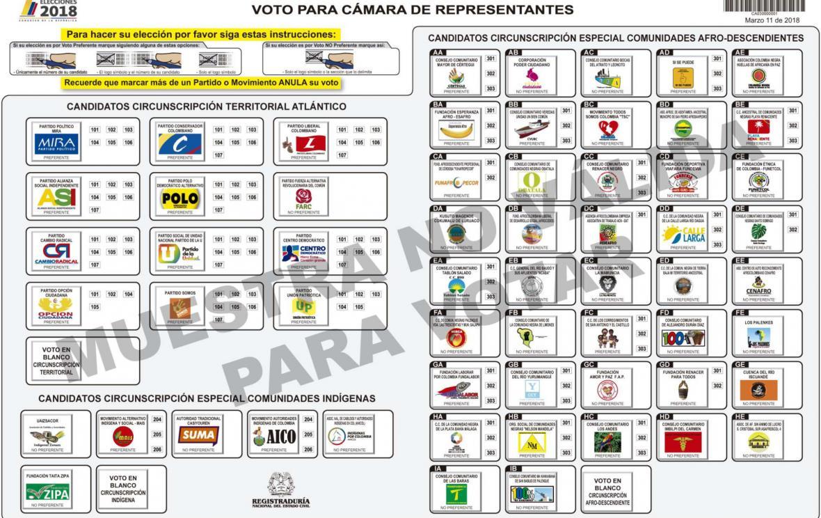 Muestra de lo que será el tarjetón para votar por los candidatos a la Cámara de Representantes.