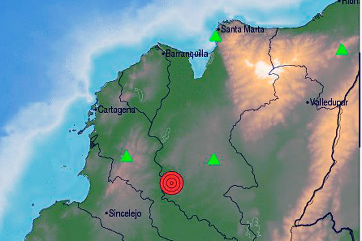 El mapa muestra el reporte del temblor de 4,2 grados con epicentro en Córdoba y Sucre. Ocurrió a las 12:07 de la medianoche de este sábado.