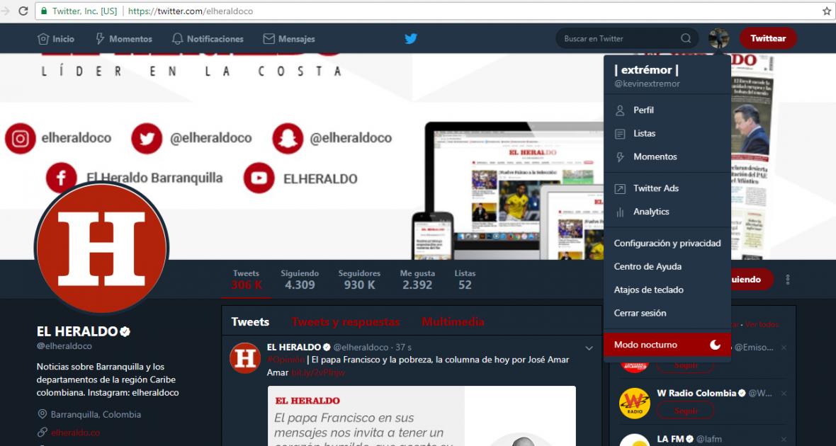 Así se observa la versión web en su modo nocturno.
