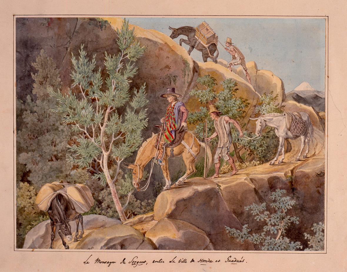Viajeros en la Cordillera Central, entre Honda y Gaduas. Acuarela de François Désiré Roulin, 1823.