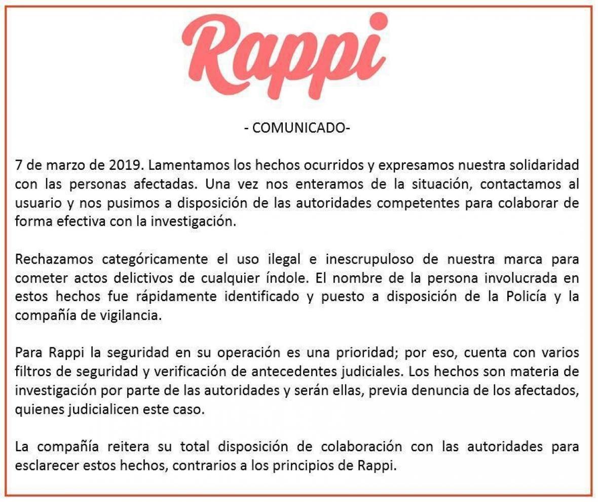 Comunicado de Rappi.