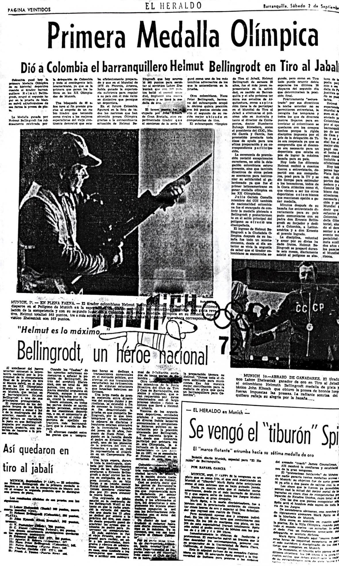 Página de EL HERALDO (1972) el día que ganó la primera presea olímpica para el país en unos Olímpicos.