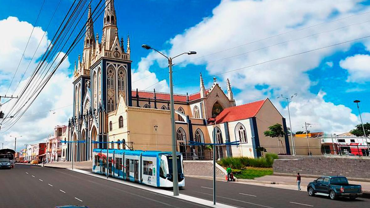 Render de la propuesta de construcción del tren ligero por la calle 30, a la altura de la iglesia San Roque.