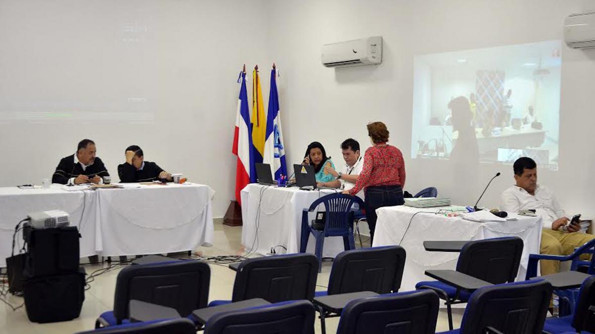 Aspecto de la realización de una audiencia virtual en Barranquilla.