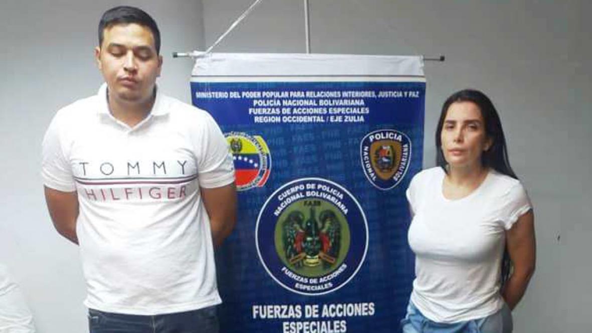 Jacob Vargas y Aida Merlano tras su caputa en Maracaibo, Venezuela.
