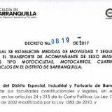 El decreto sobre prohibición permanente del parrillero hombre en el norte de Barranquilla