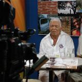 El maestro leandro Díaz y su hijo Ilvo, en un programa que se grabó en Telecaribe.