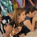 Josefa Cassiani, secretaria de Gobierno; la alcaldesa Distrital, Elsa Noguera; la secretaria de Gestión Social, Karen Abudinén, y el gerente de Proyectos Especiales, Alfredo Carbonell, durante la presentación de la política pública para la población afro.