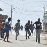 Aspecto de los disturbios en Pasacaballos.