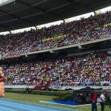 El padre Alberto Linero, durante la celebración de la misa  de Pentecostés este año en el Estadio Metropolitano.
