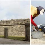 Cerramiento con bolardos para evitar que se estacionen carros y buses frente a las murallas