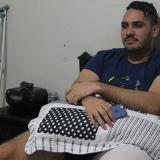 Zabaleta, recostado en una cama, en la entrevista.