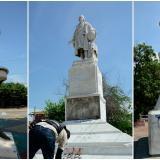 Estatuas, sin nadie que  las proteja y las vigile