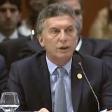Maurici Macri durante su intervención en la cumbre de Mercosur.