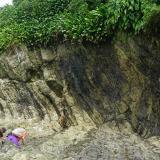 Trabajo de campo en isla Gorgonilla, donde encontraron la capa expuesta de esferulitas en las rocas.