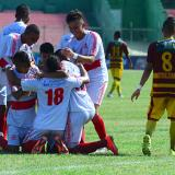 La Selección Atlántico celebra uno de los dos tantos que le anotó a Tolima, en el estadio Romelio Martínez.