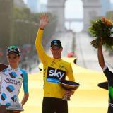 Chris Froome, Romain Bardet y Nairo Quintana en el podio de la edición número 103 del Tour de Francia.