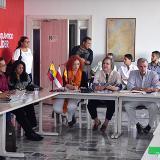 La ministra del Trabajo, Clara López, en una de sus intervenciones durante el Consejo de Gobierno Ampliado. A su lado, el gobernador Eduardo Verano y demás asistentes.
