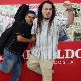Los cuenteros Juan Madrigal (Costa Rica) y Romer Peña (Venezuela), invitados a El Caribe Cuenta, en su visita ayer a la redacción de EL HERALDO.