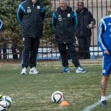 Javier Pastore y Ángel Di María en un entrenamiento con la Selección Argentina.