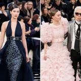 La modelo Bella Hadid en la pasarela de Chanel, en París y Karl Lagerfeld, de Chanel, en compañía de su nueva musa, Lily-Rose Depp.