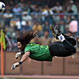 El ex portero de la Selección Colombia en su jugada de fantasía llamada 'El Escorpión'.