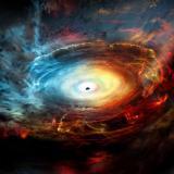 Impresión artística cedida por el Observatorio Nacional Radioastronómico (NRAO) que muestra una impresión artículo del corazón de la galaxia NGC 1068.