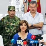 La canciller María Ángela Holguín durante la rueda de prensa ofrecida este martes en Cúcuta.
