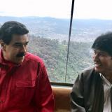 Maduro y Morales en el teleférico Waraira Repano.