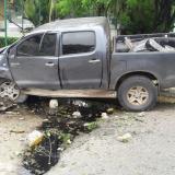 Así quedó la camioneta tras el accidente.