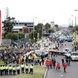 Más de 500 taxistas protestaron este lunes en Bogotá