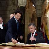 Justin Trudeau y Juan Manuel Santos.