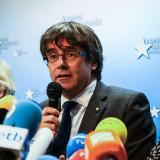 El presidente catalán destituido Carles Puigdemont durante su alocución.
