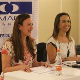 La gerente de Camacol Atlántico, María Elia Abuchaibe, y la presidente nacional del gremio, Sandra Forero, durante una rueda de prensa realizada ayer.