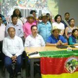 Miembros de la Organización Nacional Indígena de Colombia cuando informaban de los acuerdos con el Gobierno.