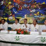 De izquierda a derecha: Elvia Mejía, José Consuegra Bolívar, Gustavo Bell, Eduardo Verano, Amylkar Acosta y Carlos Rodado Noriega.