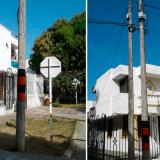 Reemplazan poste de telefonía caído en el barrio Modelo