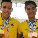 Los karatecas Luis Triviño y Shanee Torres.