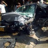 Así quedó uno de los vehículos tras el choque.