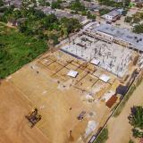 Imagen tomada con un dron donde se observa el avance de las obras en Campo de la Cruz.