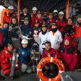 El grupo de científicos expedicionarios que termina la travesía que se inició en diciembre.