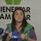 Karen Abudinén, durante la rueda de prensa.