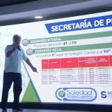 El alcalde de Soledad, Joao Herrera, cuando explicaba los resultados del desempeño fiscal del Municipio.