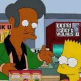 Apu y Bart Simpson.