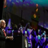 Mike Pence cuando intervenía ante la OEA.