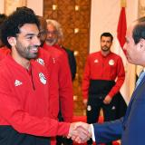 Momento en que la selección egipcia se presenta ante el presidente de ese país.