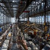 Trabajadores en las obras del nuevo Puente Pumarejo entre B/quilla y Santa Marta.