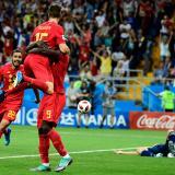 Los jugadores belgas festejan el tanto del triunfo.